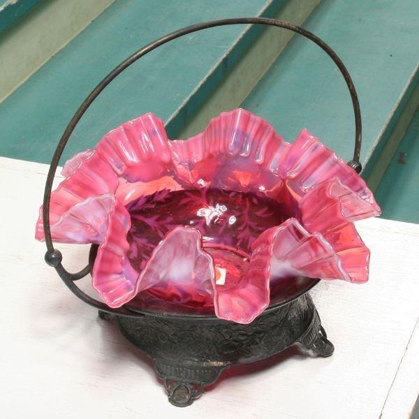 1316: 1316Victorian brides basket, silverplate holder,