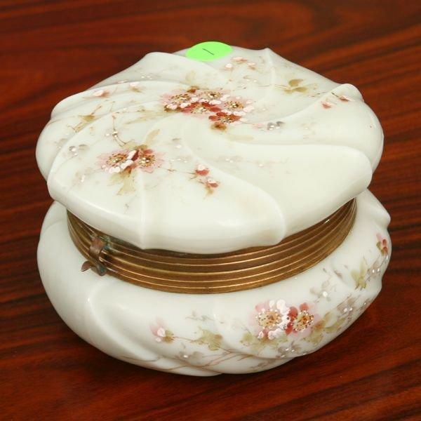 1: 19th century Wavecrest dresser box, swirl molded pat