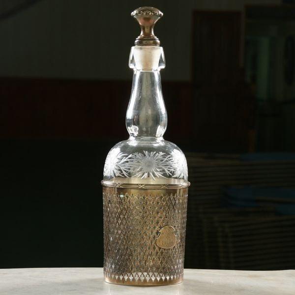3: Circa 1900 fine cut glass decanter, sterling liner a