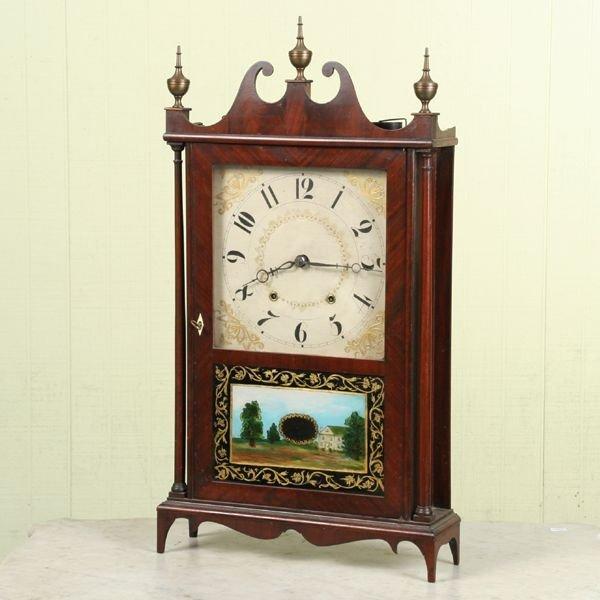 8: Early 1800 pillar and scroll shelf clock, original l