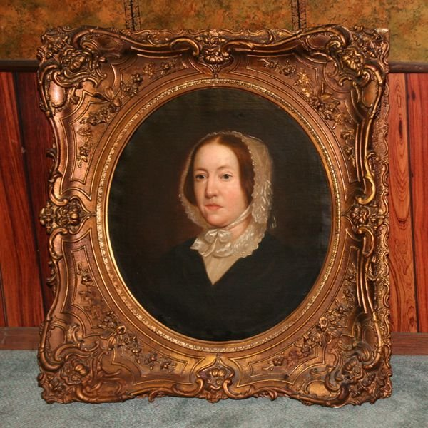 10: 19th Century oil on canvas portrait of lady with bo