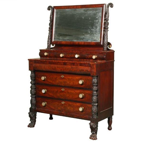 12: Exceptional 1820 carved Federal dresser, matched fl