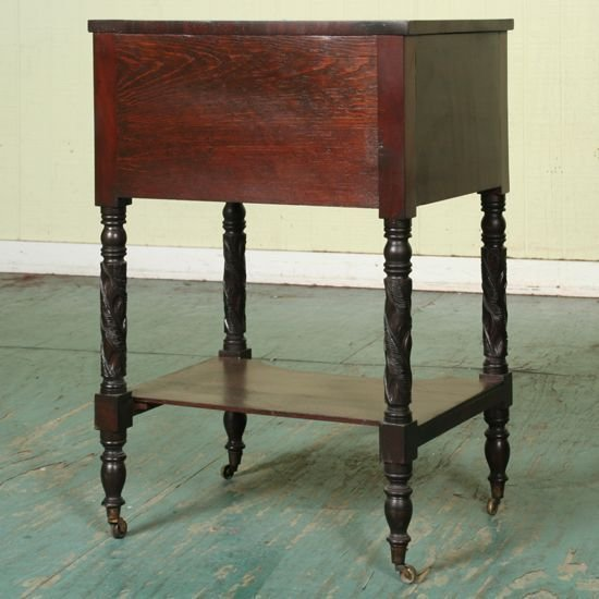 13: 1820 carved Federal two drawer stand, flame and sol