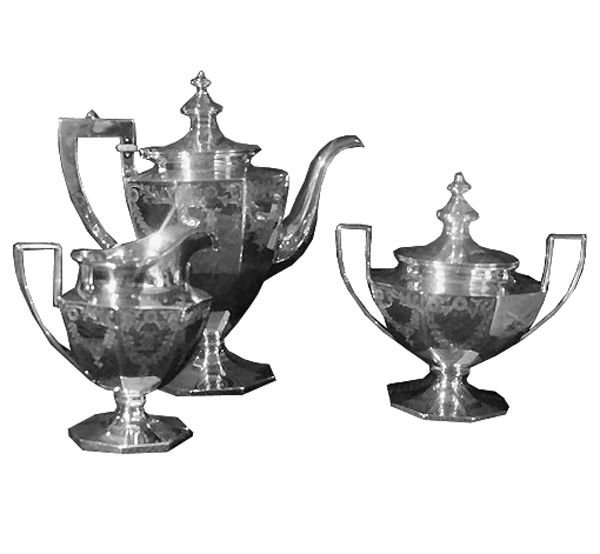 15: Heavy early 1900 Colonial Revival four piece sterli