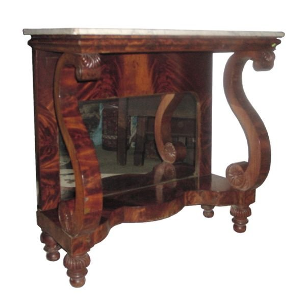 20: Fine 1830 Empire pier table, matched flame mahogany