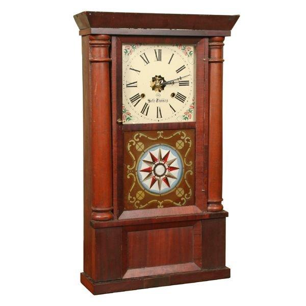 21: Mid 1800 Empire triple front shelf clock, Seth Thom