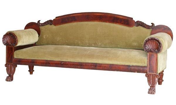 22: Exceptional 1830 Empire box sofa, fine flame mahoga