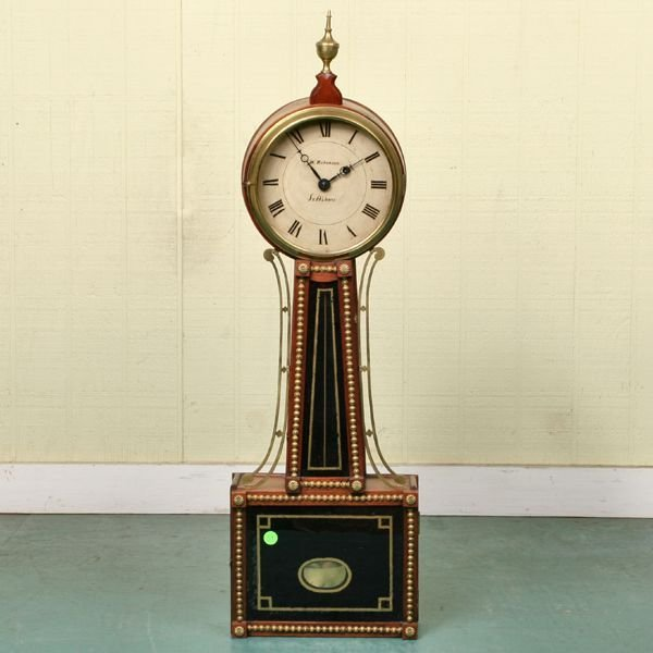 59: Federal style banjo clock, signed on painted steel