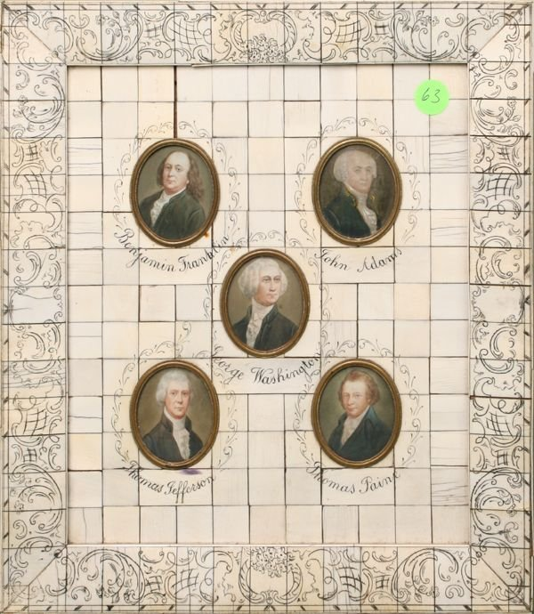 63: Grouping of five paintings on Ivory of some of Amer