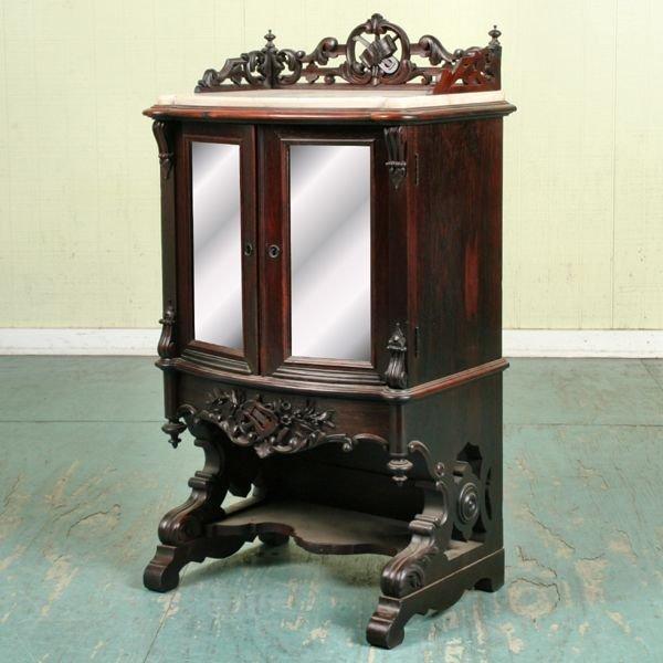 99: Fine mid 1800 Rococo Victorian music cabinet, rosew