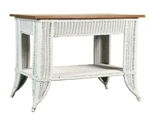 1010: Early 1900 Bar Harbour wicker table, tiger oak to