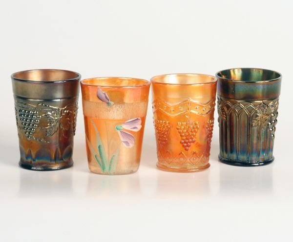 1017: Lot of four carnival glass tumblers, (1) Northwoo