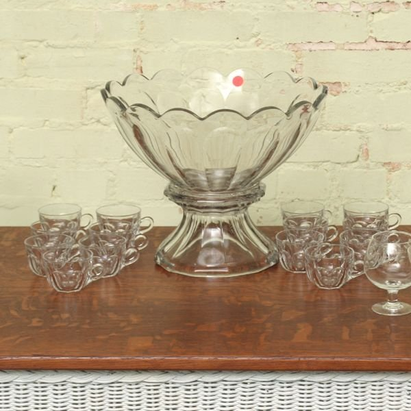 1019: Large two piece punch bowl with fourteen punch cu