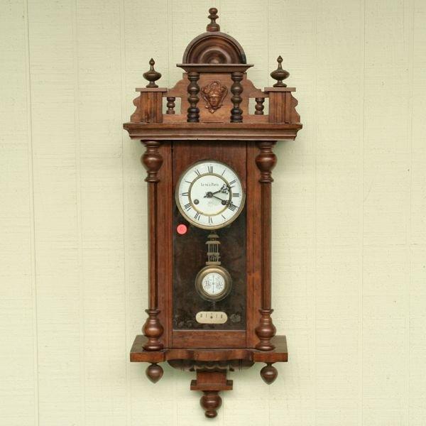 1081: Victorian Vienna wall clock, Junghans brass movem