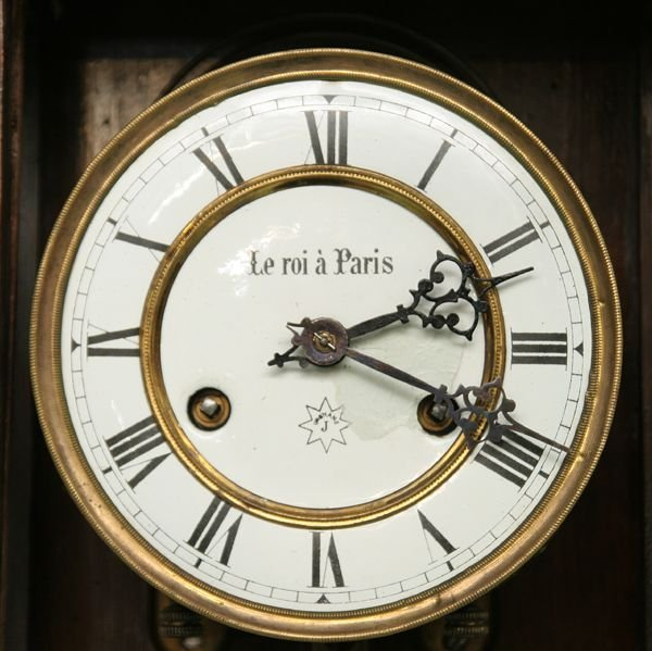 1081: Victorian Vienna wall clock, Junghans brass movem - 2