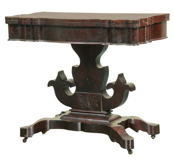 2: Excellent 1840 Empire foldover card table, matched f
