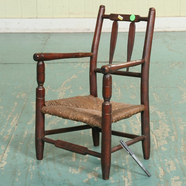 6: 19th century doll's armchair, nicely turned arms, le