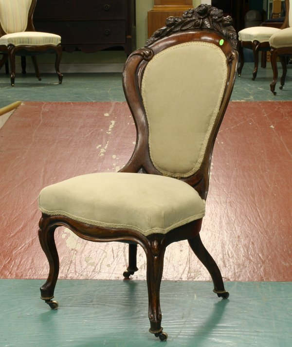 23: 1860 Rococo Victorian side chair, laminated rosewoo