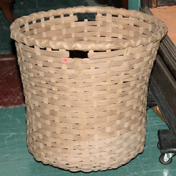 "1326: 19th century cotton basket, split oak, 23"" diame"