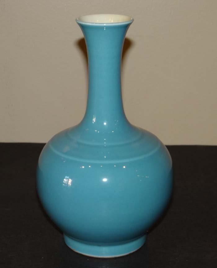 CHINESE BLUE GLAZE PORCELAIN VASE Qianlong Mark