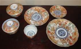 A set Japanese Imari Porcelain Plates and Bowls
