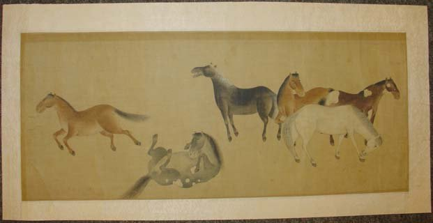 Chinese Painting Six Tang Horses Matted