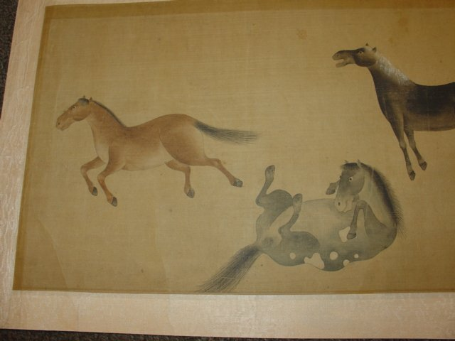 Chinese Painting Six Tang Horses Matted - 2