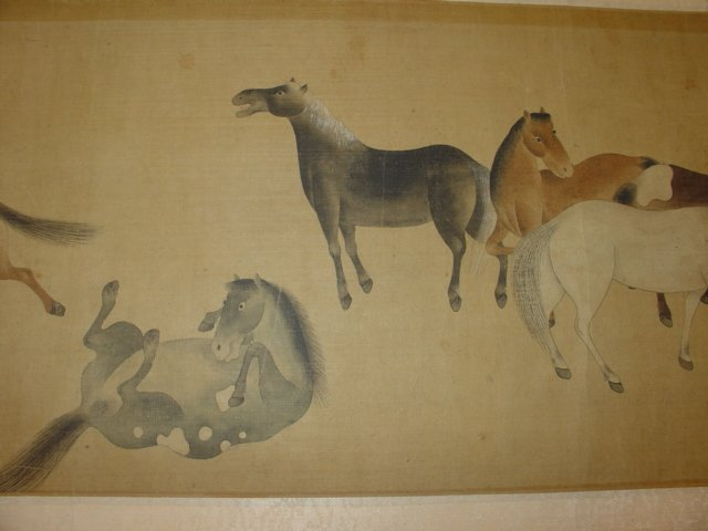 Chinese Painting Six Tang Horses Matted - 3