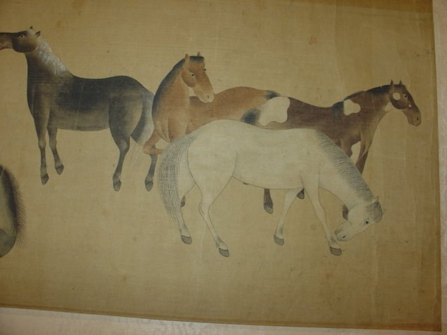 Chinese Painting Six Tang Horses Matted - 4