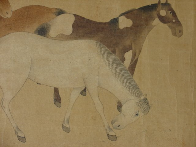 Chinese Painting Six Tang Horses Matted - 5