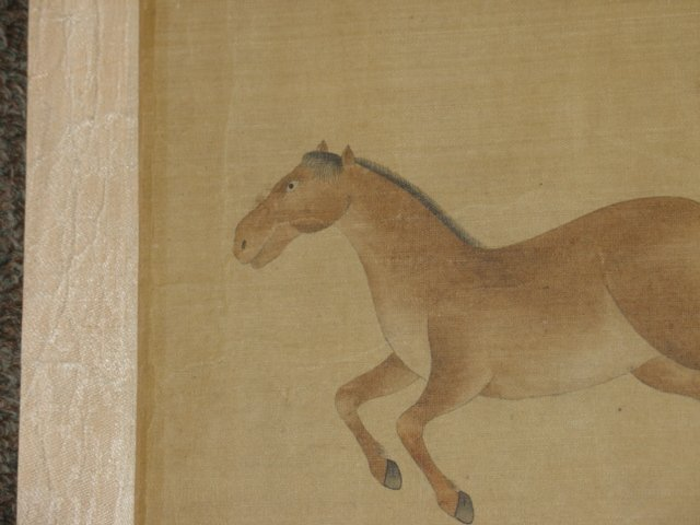 Chinese Painting Six Tang Horses Matted - 6