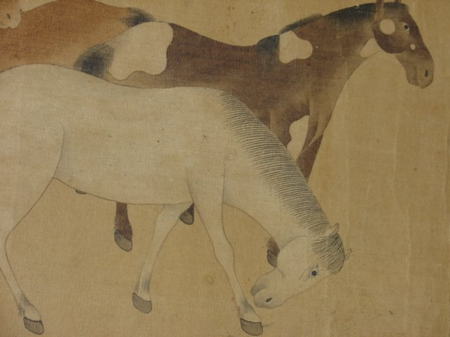 Chinese Painting Six Tang Horses Matted - 9