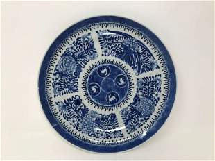 Chinese Blue & White Porcelain Kangxi Marked Plate