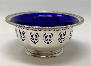 Birks Sterling Bowl Blue Cobalt Insert