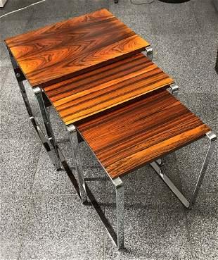 Set of Three Scandanavian 1970 Rosewood Nesting Tables