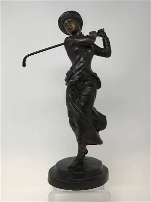Bronze Sculpture of Young Lady Playing Golf
