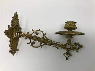 Antique Piano Bronze Candle Holder