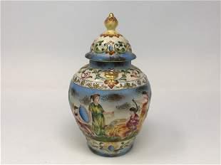 19th Century Antique Italian Capodimonte Covered Urn