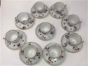 Set of 9 Cup & Saucer by Old Herend Desz 92, Fl