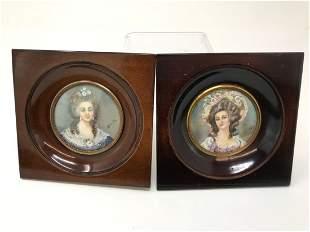 Pair of Miniature Signed Portrait Paintings of Ladies