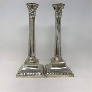 L. Rosen 800 Silver Corinthian Column Candlesticks