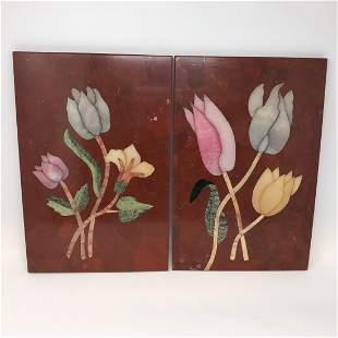 Italian Pietra Dura Plaques of Flower Blossoms