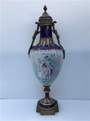 Antique Sevres Marked 1774 V Bronze & Porcelain Urn