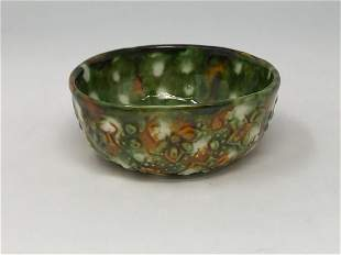 Chinese Molded Sancai and Green Glazed Cup