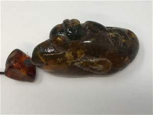Genuine Baltic Amber Face Carving Pendant