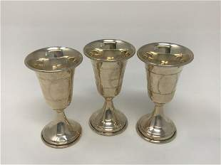 Set of Three Sterling Silver Kiddush Cups