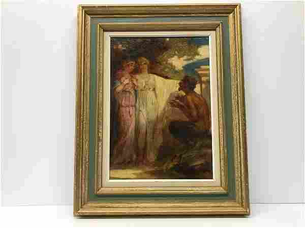 Hungarian Painting Faun and Nymphs Illegible