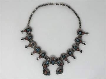 Navajo Silver Turquoise Coral Squash Blossom Signed