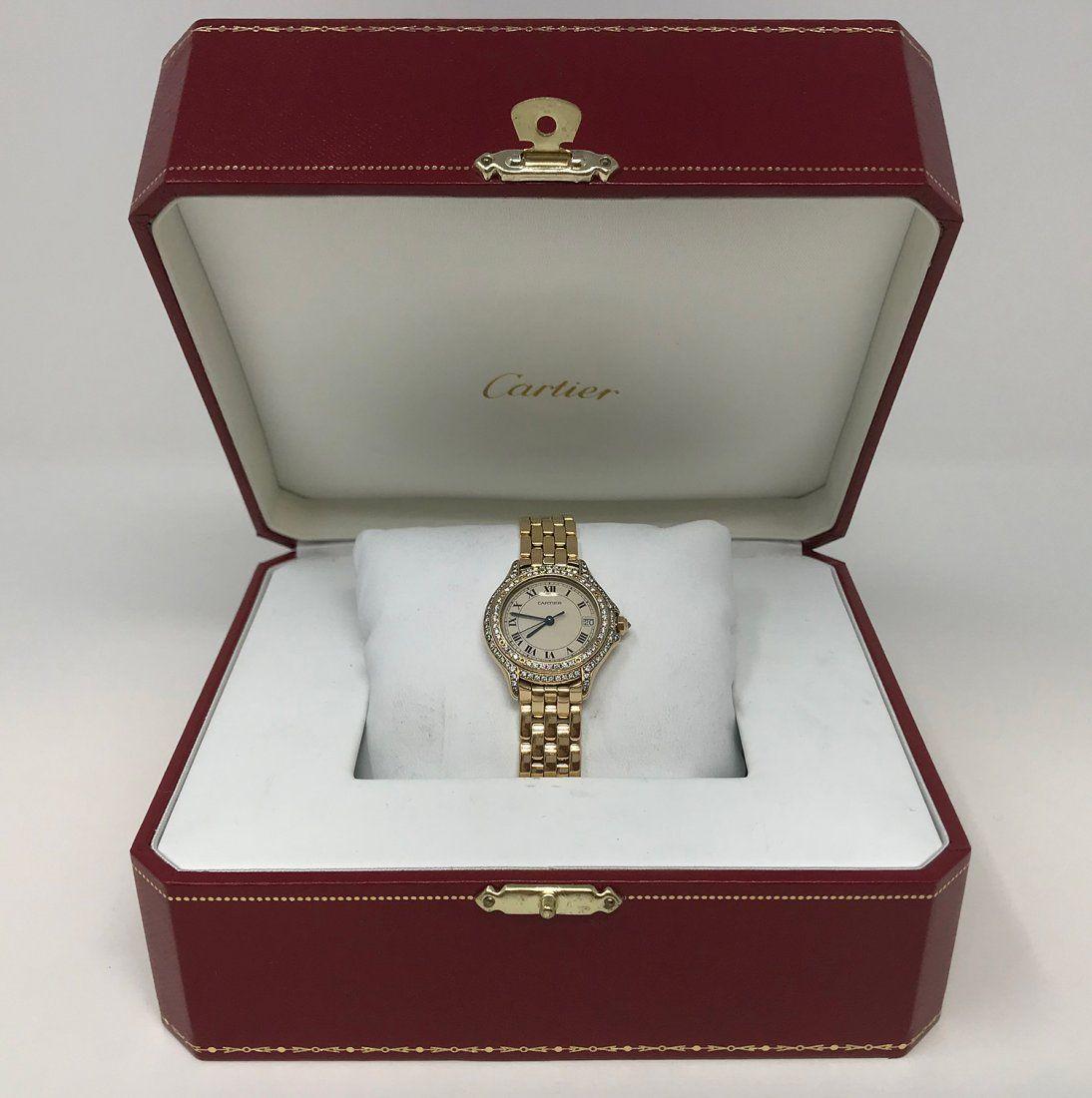 Cartier Cougar Panthere 18k Gold Diamond & Ladies Watch