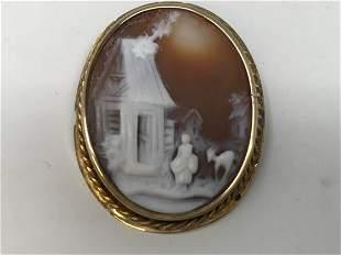 14k Gold Victorian Cameo Carving Landscape Brooch